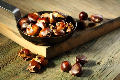 Roasted chestnuts.