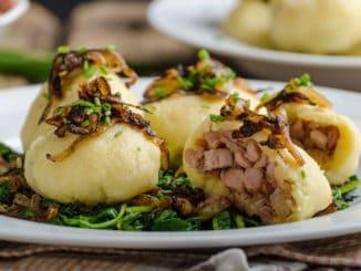 Potato dumplings stuffed with smoked