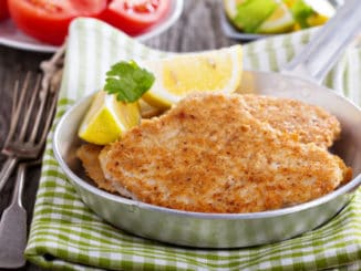 Pork schnitzel with parmesan